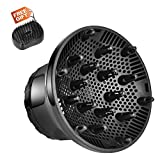 Hair Diffuser,Universal Hair Dryer Diffuser Attachment,Blow Dryer Diffuser for Most Hair Dryers with 1.4-2.76 inch Nozzle Diameter,Large Hair Diffuser for Curly Frizzy Hair-Black