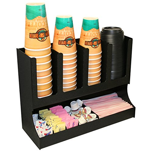 Coffee Condiment and Cup,Lid Caddy, Perfect for Coffee Reception Areas. Proudly Made by PPM is the USA! by Plastic & Products Marketing PPM