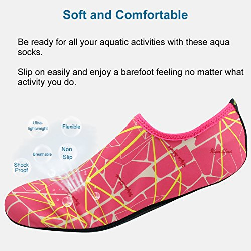 Forfoot Water Socks, Unisex Water Skin Shoes Low Top Diving Snorkeling Neoprene Beach Socks Scuba Dive Snorkel Socks Volleyball Soccer Shoes For Water Sports Yoga yellow rose red