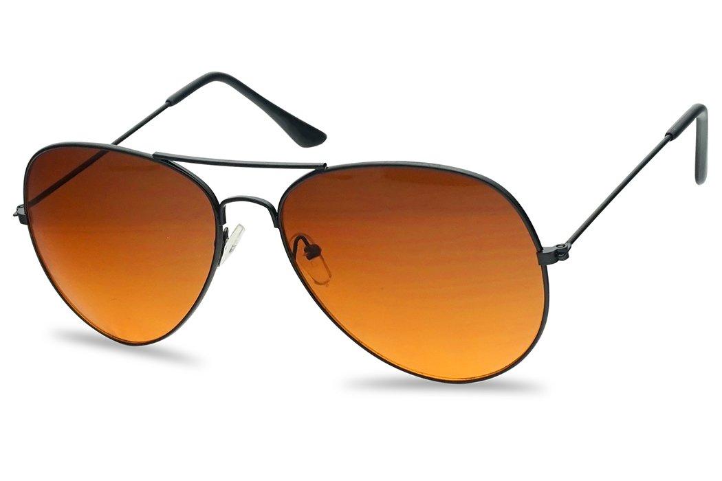 Classic Aviator Sunglasses Metal Frame Color Therapy Tinted Lens Eyeglasses (Black Frame | Orange (Blue Blockers)) by SunglassUP