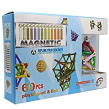 EnToy Magnetic Sticks and Balls Building Toy Set, 60 Piece
