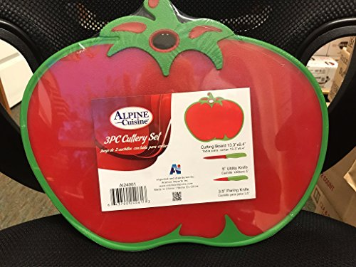 Tomato Shaped Cutting Board With Matching Utility & Paring ()