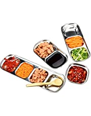 Hemoton 3pcs Sauce Dish, Stainless Steel Dipping Plates Seasoning Dish for Soy Appetizer Tomato Sauce Salt Vinegar Sugar Spices Flavor for Hot Pot, BBQ
