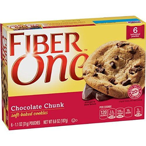 Fiber One Soft Baked Cookies Chocolate Chunk Cookie, 6 Cookies, 6.6 oz. (Pack of 3)