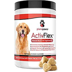 ActivFlex - Glucosamine for Dogs - Safe Hip and Joint Supplement - Natural Dog Joint Support - Arthritis Pain Relief - Chondroitin Turmeric MSM - Improves Mobility & Hip Dysplasia - 120 Chew Treats