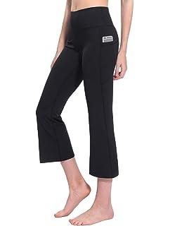 5999b51cf8 TaiBid Women's High Waist Yoga Capri Pants Side Pockets Flare Workout  Bootleg Crop Leggings, Size
