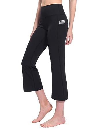 794653639910f4 TaiBid Women's High Waist Yoga Capri Pants Side Pockets Flare Workout  Bootleg Crop Leggings, Black