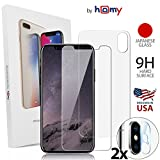 Homy Compatible Tempered Glass Screen Protector for iPhone X - Full Protection Kit Front+Back+Camera Cover [2-Pack] Glass Case Made of Premium Japanese Materials, Case Friendly, Anti Fingerprint.