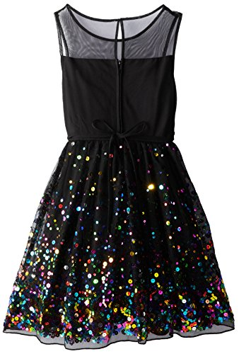 971c45aa3786 Speechless Big Girls' Illusion Dress with Rainbow Sequin, Black/Fuchsia, 12