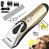 Dog Cat Clippers, ihoven Professional Low Noise Dog Grooming Clippers Rechargeable Cordless Electric Pet Clippers Kit Hair Trimmer Razor Blades with Comb and Scissor for Pets