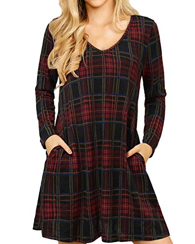 YOINS Womens Plaid Dress Jumper T Shirt Check Dresses for Women Long Sleeve Tartan Cocktail Dresses with Pocket