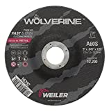 Weiler 56392 5'' x 0.045'' Wolverine Type 27 Thin Cutting Wheel, A60S, 7/8'' A.H. (Pack of 100)