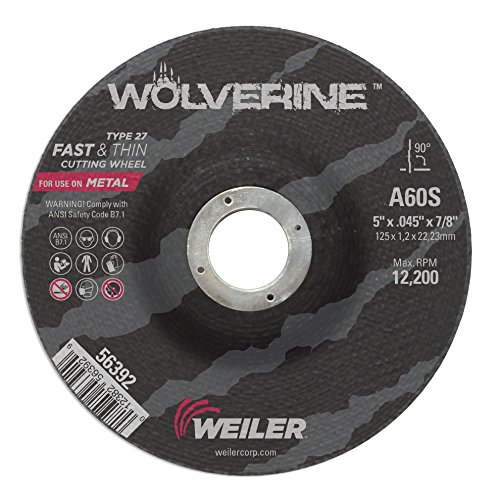 Weiler 56392 5'' x 0.045'' Wolverine Type 27 Thin Cutting Wheel, A60S, 7/8'' A.H. (Pack of 100) by Weiler