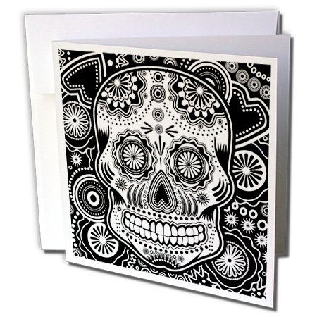 (Geometric Sugar Skull - Greeting Cards, 6 x 6 inches, set of 12 (gc_201651_2))