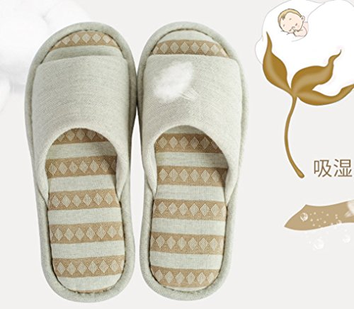 Womens Cotton Indoor Slippers Open Toe Slippers Cream Color I4eHBW13K9