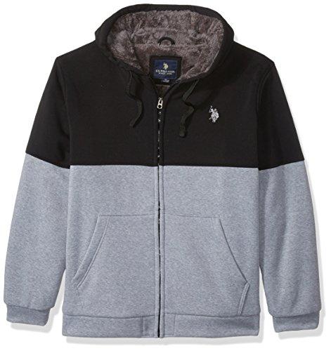 Polo En Hoodie U Lined Homme Sherpa Polaire Fleece Assn 6381 s Black Colorblock Veste TwUv5