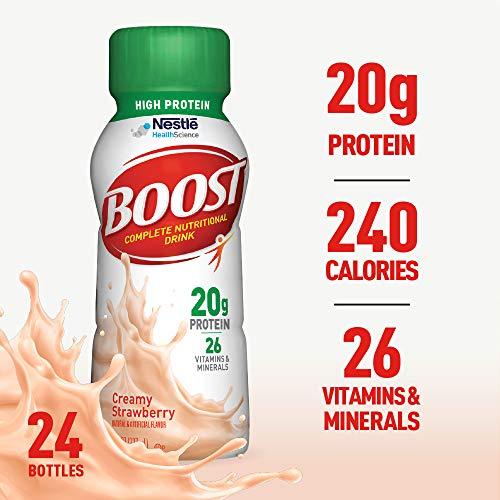- Boost High Protein Complete Nutritional Drink, Creamy Strawberry, 8 Ounce Bottle (Pack of 24) 20 Grams Protein