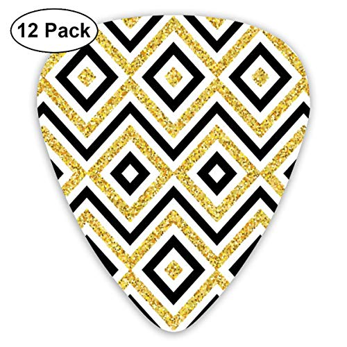 Guitar Picks - Abstract Art Colorful Designs,Ethnic Motif Of Zig Zag And Squares Contemporary Design Art Print,Unique Guitar Gift,For Bass Electric & Acoustic Guitars-12 Pack