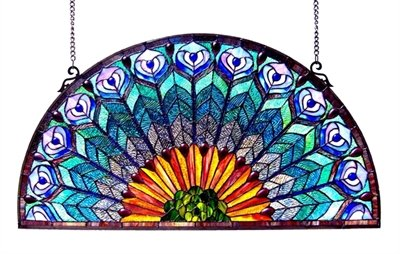 CK, Tiffany-style Peacock Feather Glass Window Panel 35x18 ()