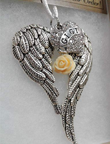 Gigi Memorial Angel Wings Ornament with Yellow Rose Charm