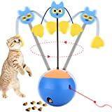 ENJOY PET Interactive Cat Toy Electric, 3-in-1 (Red Lights/Treat Ball/Automatic Rotating Tumbler) Cat Toy Electronic Ball Tumbler Battery Operated