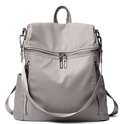 Women Backpack Purse Lightweight Fashion Nylon Ladies Handbag School Shoulder Bag Waterproof Travel Rucksack Grey