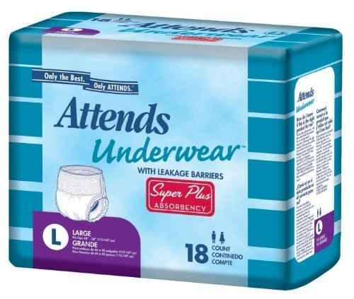 Attends Underwear Super Plus Absorbency 22 to 36 in. Hip Size/80 to 125 lb./Case of 80 by Attends Healthcare