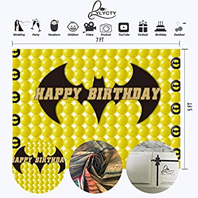 LYLYCTY 7x5ft Balloon Backdrop for Birthday Party Yellow Balloon Batman Phptpgraphy Background for Children Kids Boys Happy Birthday Banner Party Supplies LYHX147 : Camera & Photo
