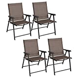 4 Folding Sling Chairs Outdoor Patio Furniture Camping Deck Garden Pool Beach Set of 4
