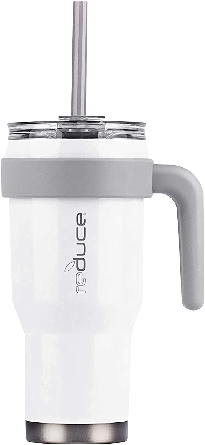Reduce Tumbler – 24oz COLD 1 Mug With Lid, Straw and Handle – 24 Hours Cold – Easy-Hold Handle, Vacuum Insulated, Sweat-Proof Body – Cupholder Friendly Insulated Mug – White Gloss