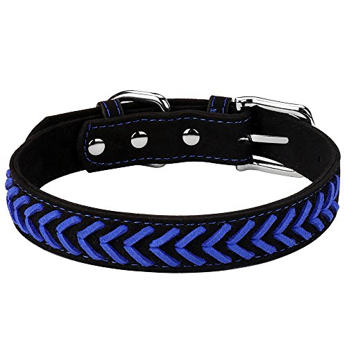 DAIHAQIKO Colorful Dog Collar and Leash Ultra-Light Soft Suede Microfiber Colorful Rope Weave 11 Colors & 4 for Puppies Small Medium Dogs or Cats (M, Collar Blue B) ()