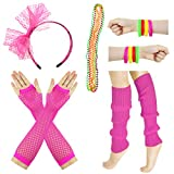 JINSEY Women's 80s Outfit accessories Leg Warmers Gloves For 1980s Theme Party Supplies-Rose Red