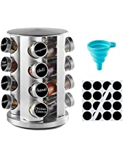 DEFWAY Spice Rack Organizer for Cupboard - Stainless Steel Spice Rack with Reuseable Labels and Funnel, Rotating Spice Rack Organizer (16 Round)
