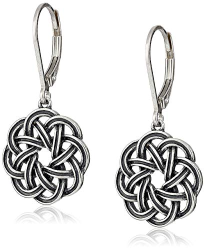 Sterling Silver Oxidized Celtic Knot Leverback Dangle Earrings ()