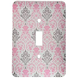 3dRose lsp_44246_1 Pink and Gray Damask Pattern On A White Background Toggle switch
