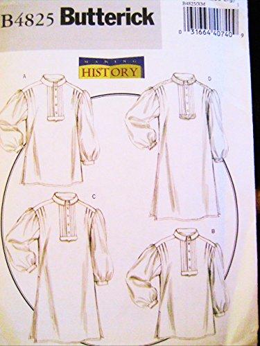 Butterick Fashion - Butterick 4825 Historical Pattern Men's Shirt Colonial, Poet, Night Shirt, Size S-M-L
