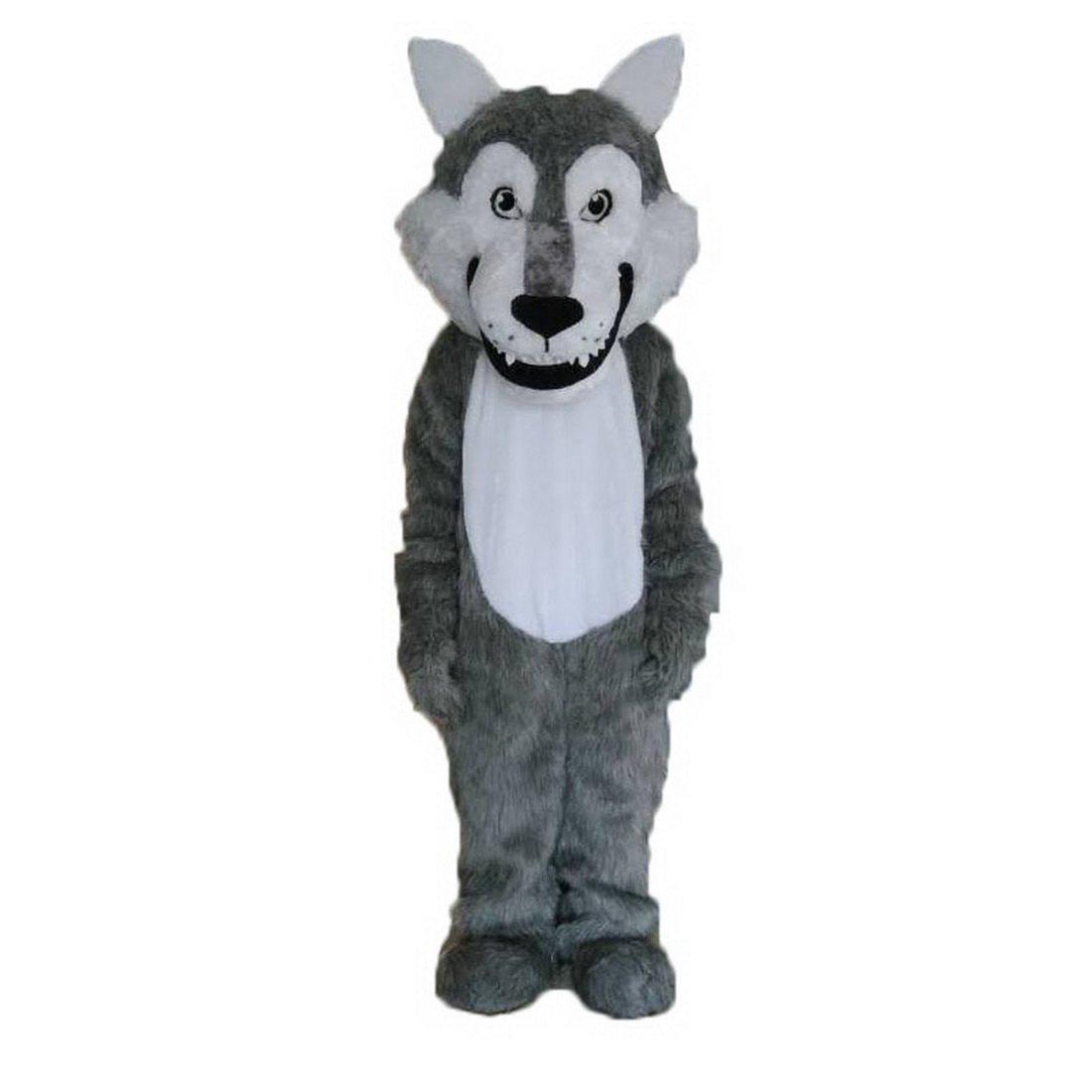 Grey Wolf Long Hair Mascot Costume Cartoon Real Picture Langteng(TM)