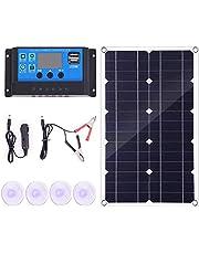Uniquk 100 W solpanelssats 12 V batteriladdare styrenhet för husvagnar och båt och dubbel USB solpanel 10 A solkontroll