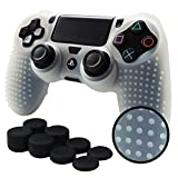 ice white 3ds - Pandaren STUDDED Anti-slip Silicone Cover Skin Set for PS4 /SLIM /PRO controller(White controller skin x 1 + FPS PRO Thumb Grips x 8)