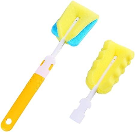 2 pinceles de limpieza de biberones de esponja para bebé, que incluyen un cepillo para pezones y una