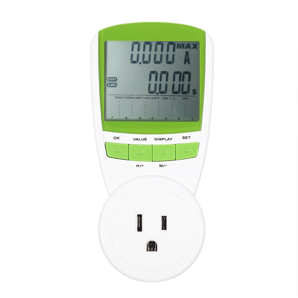 Walmeck Power Energy Meter LCD Digital Display Wattage Voltage Current Frequency Monitor