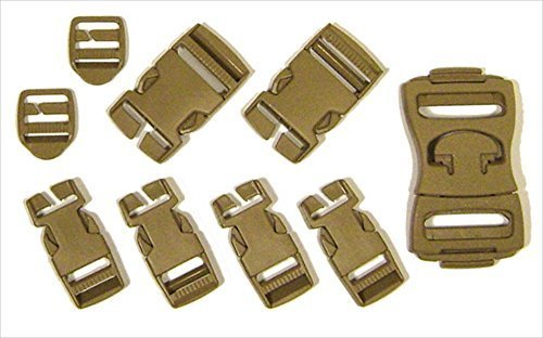 PKG(6) Assorted Molle Buckles in Army-Drab Pastic