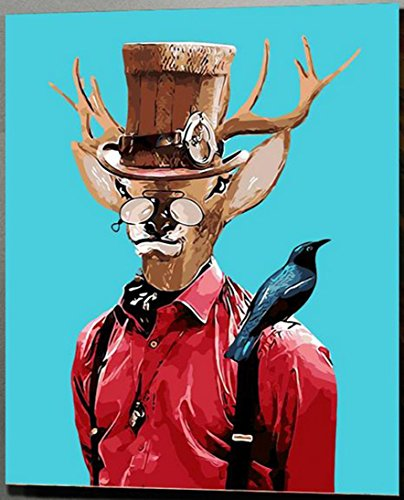MailingArt Wooden Framed Paint By Number No Mixing / No Blending Linen Canvas DIY Painting - Gentleman Deer