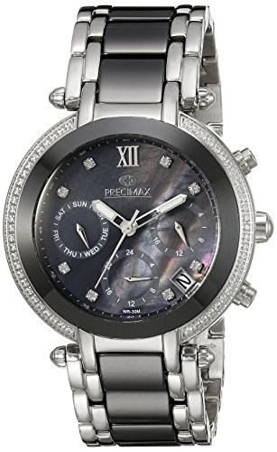 Precimax Women's PX13343 Glimmer Elite Ceramic Analog Display Swiss Quartz Silver Watch