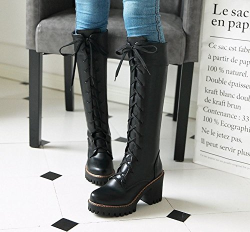 High up Black Platform Womens Knee Heels Boots Riding Lace Block Latasa OPTgZnXw