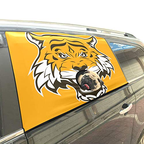 (Danexwi Angry Irritated Tiger King Animal Foldable Pet Dog Safety Car Printed Window Fence Curtain Barriers Protector for Baby Kid Adjustable Flexible Sun Shade Cover Universal Fit for SUV)