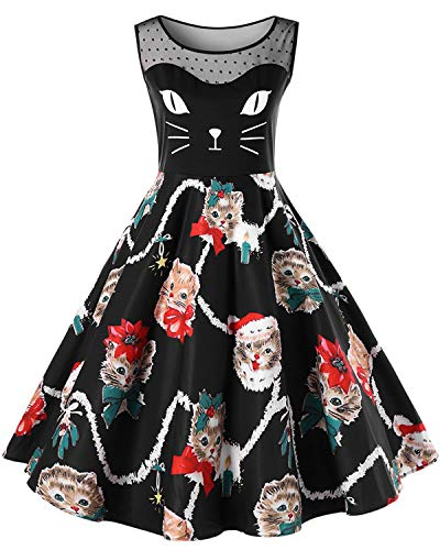 BELLEZIVA Plus Size Christmas Kitty Dress Sleeveless Oversize
