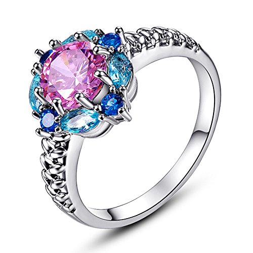 Psiroy 925 Sterling Silver Pink Topaz Filled Ring Flower Shaped Band Size 8 -