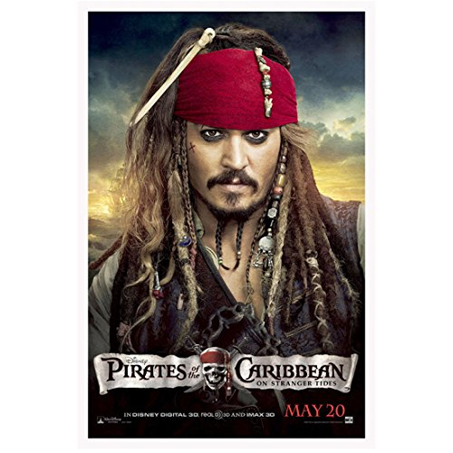 Pirates of the Caribbean 11 Inch x 17 Inch lithograph Johnny Depp Red Bandana & Beads in Hair kn