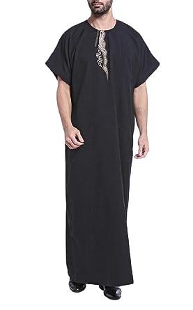 52702ef0f Etecredpow Mens Abaya Printed Muslim Short Sleeve Dubai T-Shirt Black S